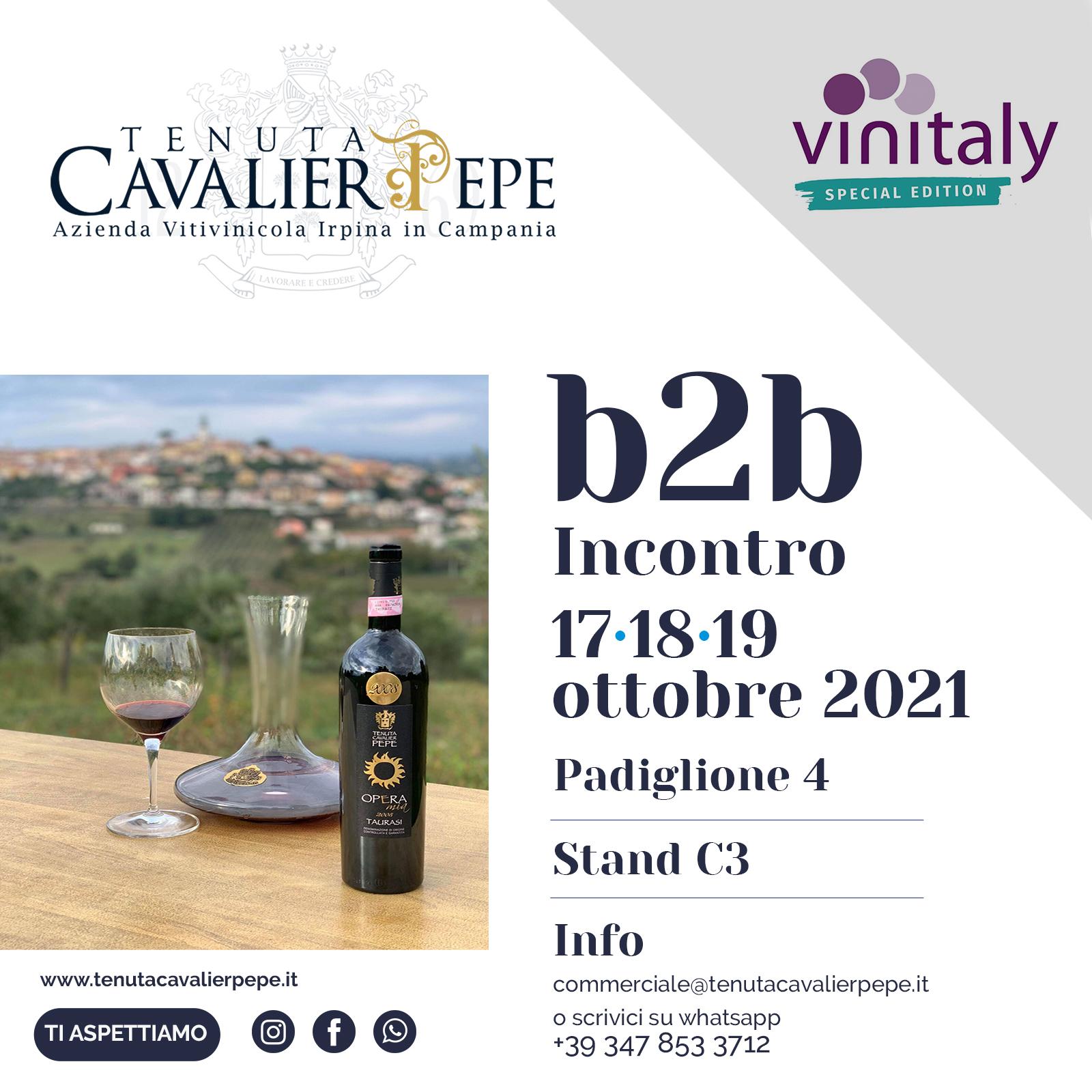 Tenuta Cavalier Pepe partecipa al<br>Vinitaly Special Edition dal 17 al 19 ottobre 2021
